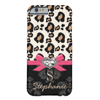 Fuchsia Bow Heart Shaped Faux Bling Leopard Print Barely There iPhone 6 Case