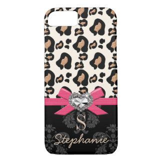 Fuchsia Bow Heart Shaped Faux Bling Leopard Print iPhone 7 Case
