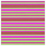 [ Thumbnail: Fuchsia, Brown, Lavender, and Green Stripes Fabric ]