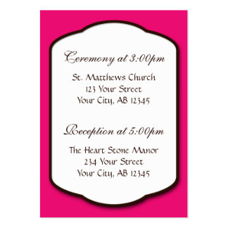 Fuchsia Brown & White Wedding Guest Reference Card