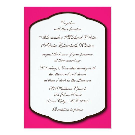 Fuchsia Brown & White Wedding Invitations