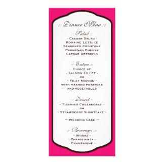 Fuchsia Brown & White Wedding Reception Menus