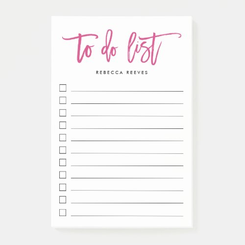 Fuchsia Brush Lettered Personalized To Do List Post-it Notes