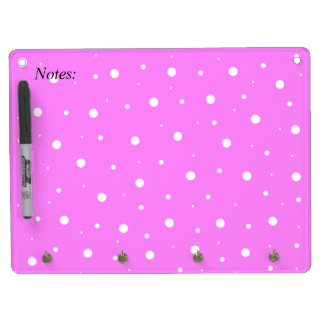 Fuchsia Bubbles Dry Erase Board With Keychain Holder