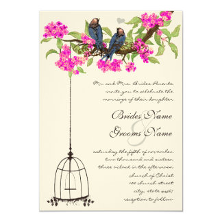Fuchsia Cherry Blossom Love Birds Birdcage Wedding Card