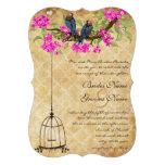 Fuchsia Cherry Blossom Love Birds Birdcage Wedding Custom Announcement