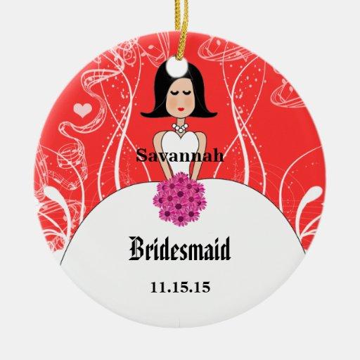 Fuchsia coral wedding black hair bridesmaid christmas for Engagement christmas tree ornaments