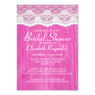 Fuchsia Country Lace Bridal Shower Invitations