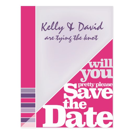 Fuchsia Creative Funky Save the Date Post Card