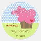 Fuchsia Cupcake Thank You Birthday Party Gift Tag