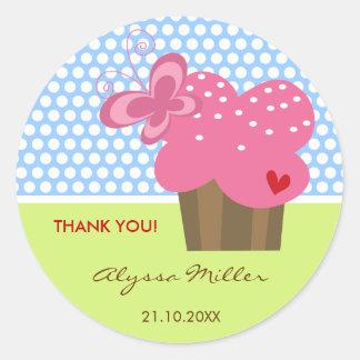 Fuchsia Cupcake Thank You Birthday Party Gift Tag Classic Round Sticker