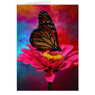 fuchsia daisy turquoise teal bohemian butterfly card