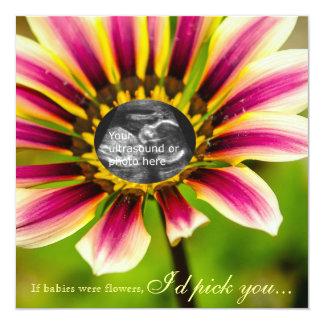 Fuchsia Daisy Ultrasound Baby Shower Invite