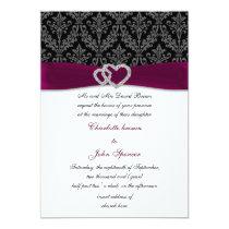 Fuchsia damask FAUX ribbon diamante Wedding Card