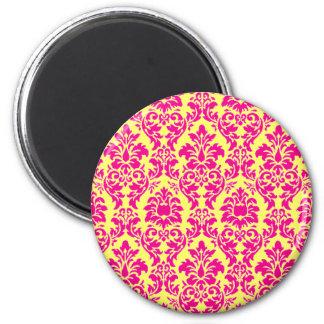 Fuchsia Damask Magnet