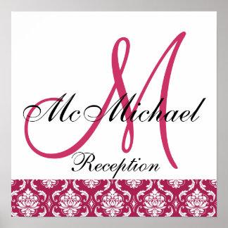 Fuchsia Damask  Monogram Wedding Reception Sign