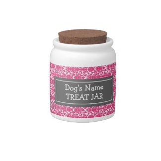 Fuchsia Damask Pattern Dog Treat Jar Candy Jar