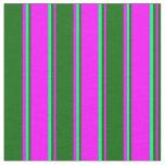 [ Thumbnail: Fuchsia, Dark Green, and Green Striped Pattern Fabric ]