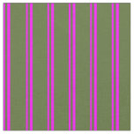 [ Thumbnail: Fuchsia & Dark Olive Green Colored Pattern Fabric ]