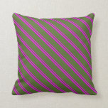 [ Thumbnail: Fuchsia & Dark Olive Green Colored Pattern Pillow ]