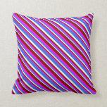 [ Thumbnail: Fuchsia, Dark Red, White & Royal Blue Colored Throw Pillow ]