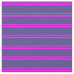 [ Thumbnail: Fuchsia & Dark Slate Blue Stripes/Lines Pattern Fabric ]