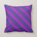 [ Thumbnail: Fuchsia & Dark Slate Blue Stripes/Lines Pattern Throw Pillow ]