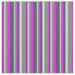 [ Thumbnail: Fuchsia, Dark Slate Gray, Light Gray & Gray Lines Fabric ]