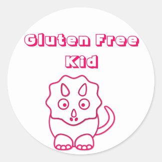Fuchsia Dino Gluten Free Kid Sticker