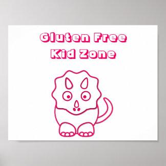 Fuchsia Dino Gluten Free Kid Zone Poster