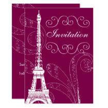 Fuchsia Eiffel Tower wedding invitation