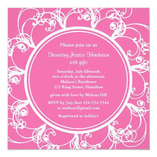 Fuchsia Fancy Floral Bridal Shower Invite