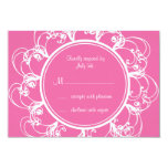 Fuchsia Fancy Floral RSVP Personalized Invitations