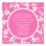 Fuchsia Fancy Floral Wedding Invitation