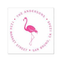 Fuchsia Flamingo   Custom Circular Return Address Self-inking Stamp