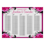 Fuchsia Floral A to Z Wedding Table Seating Chart Poster