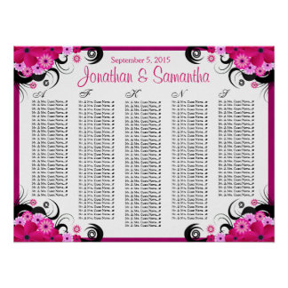 Fuchsia Floral A to Z Wedding Table Seating Charts Poster