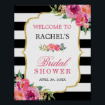 "Fuchsia Floral Black Stripes Bridal Shower Sign<br><div class=""desc"">Fuchsia Floral Black Stripes Bridal Shower Sign Poster. (1) The default size is 8 x 10 inches, you can change it to any size. (2) For further customization, please click the &quot;customize further&quot; link and use our design tool to modify this template. (3) If you need help or matching items,...</div>"