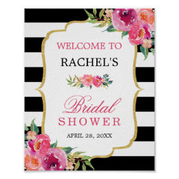 Fuchsia Floral Black Stripes Bridal Shower Sign