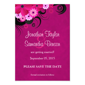 Fuchsia Floral Hibiscus Save The Date Announcement Invitation