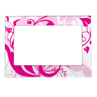 Fuchsia Floral Swirls Mother's Day Picture Frame Magnets