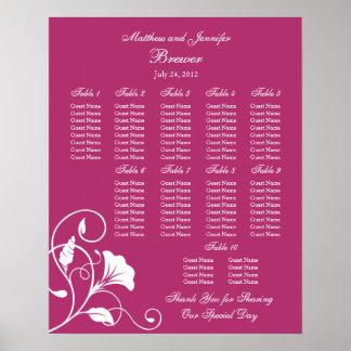 Fuchsia Floral Wedding Reception Seating Chart