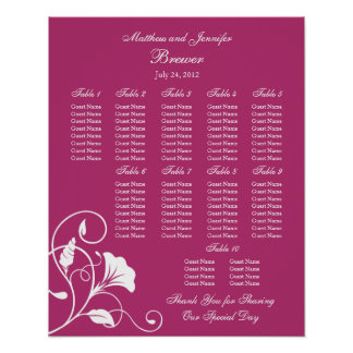 Fuchsia Floral Wedding Reception Seating Chart Posters