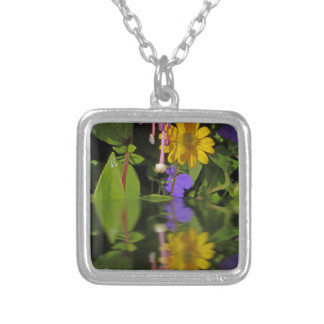 Fuchsia  flower in reflection personalized necklace