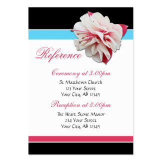 Fuchsia Flower Pink & Aqua Guest Reference Cards