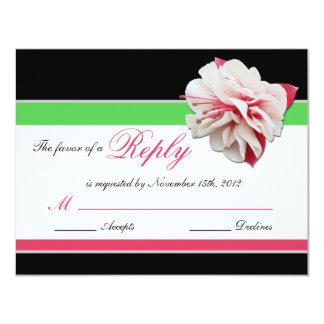 Fuchsia Flower Pink & Green Wedding Reply Cards