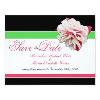 Fuchsia Flower Pink & Green Wedding Save the Dates Card
