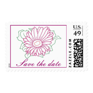 Fuchsia flower, Save the date, wedding stamps