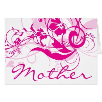 Fuchsia Flowers Swirls Mother's Day Cards