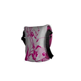 Fuchsia Flowers Swirls Mother's Day Courier Bag